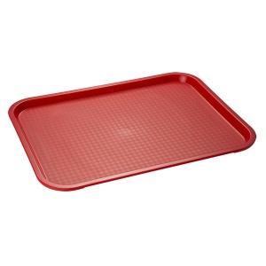 APS Fast Food-Tablett, Rechteckiges Essenstablett mit abgerundeten Ecken, Maße (B x L x H): 41 x 30,5 x 2,5 cm, rot