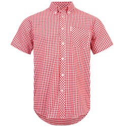BRUTUS JEANS Kurzarm Hemd 10002 Red Gingham - S