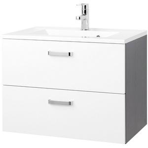 Waschbecken mit Unterschrank Waschtischunterschrank 70 cm hochglanz weiss grau