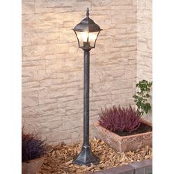 Licht-Erlebnisse Außen-Stehlampe TOSCANA Außenlampe Stehlampe Silber Antik Glas Garten Terrasse Lampe