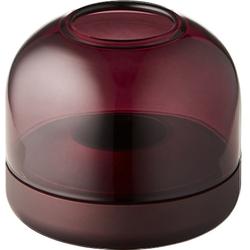 kooduu Windlicht Glow 08, Luxuswindlicht, aus gebürstetem Aluminum und Rauchglas rot