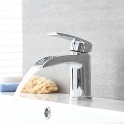 Wasserfall Einhebelmischer für Waschbecken Modern Chrom 14,5cm hoch - Razor