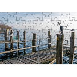 Puzzlepostkarte Bodensee Motiv Möwen am Steg