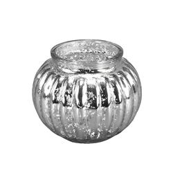 Werner Voß Teelichthalter Windlicht PUMPKIN silber D13,5cm Teelichthalter Kugel mit Rillen Bauernsilber