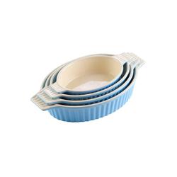 MALACASA Backform Bake.Bake, (4-tlg), mikrowellengeeignet blau 1500 ml - Rund