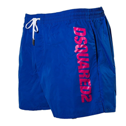 Dsquared2 Badeshorts Herren Badehose - Boxer Midi, Badeshort, Logo, blau 2XL