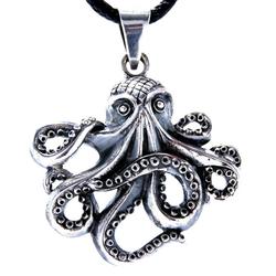Kiss of Leather Kettenanhänger Oktopus Anhänger aus 925 Silber Octopus Tintenfisch Krake