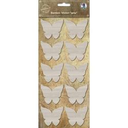 Bambus Sticker grau Schmetterling
