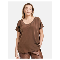 Blusenshirt mit V-Ausschnitt Samoon Cocoa Brown
