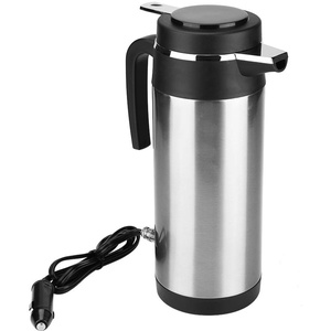 Elektrische Wasserkocher Qiilu Wasserkocher 24V für LKW, 1200 ML Auto Reise Wasserkocher Edelstahl Tasse Schnell Kochen für Tee Kaffee