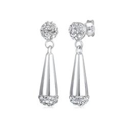 Elli Paar Ohrstecker Kugel Tropfen Kristalle 925 Silber, Kristall Ohrhänger