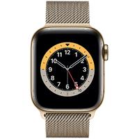 Apple Watch Series 6 GPS + Cellular 40 mm Edelstahlgehäuse gold, Milanaise Armband gold