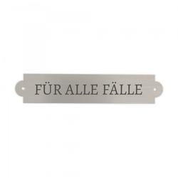"""Schild für die Notfallbox Hochzeit """"Für alle Fälle"""" (silber)"""