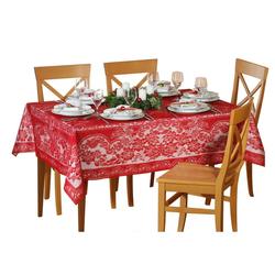 dynamic24 Tischdecke, Spitzen Tischdecke 135x180 Decke Weihnachtsdecke Tischläufer eckig rot