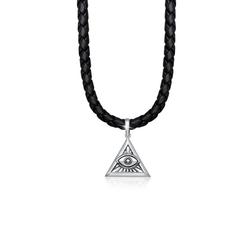 Kuzzoi Lederband Herren Leder Dreieck Anhänger Auge Gottes