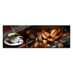 Bilderdepot24 Glasbild, Glasbild - Kaffee Collage II 90 cm x 30 cm