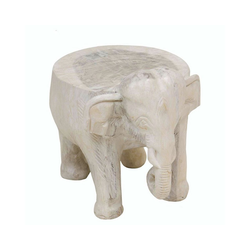 Oriental Galerie Blumenhocker Hocker Elefant Weiß Groß 32cm, Handarbeit