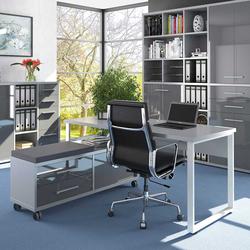 Büroschreibtisch in Grau und Weiß Sitz Rollcontainer (2-teilig)