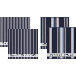 DDDDD Geschirrtuch Friesian, (Set, 4-tlg), Combiset: 2 Küchentücher & 2 Geschirrtücher blau