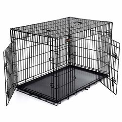 FEANDREA by SONGMICS Hundekäfig 2 Türen zusammenklappbar, 122 x 76 x 81 cm