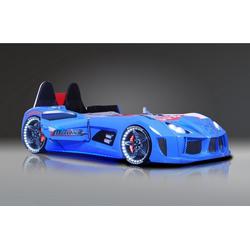 Möbel-Lux Kinderbett MVN, Kinderbett Rennwagen MVN in Blau mit Fernbedienung