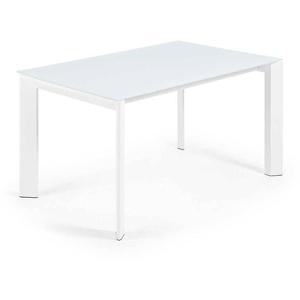 Ausziehtisch mit Glasplatte Weiß