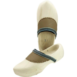 Clog Holzschuh mit Lederbesatz 30