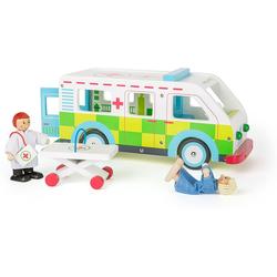 LeNoSa Spielzeug-Krankenwagen Spielwelt aus Holz - Ambulanz Spielzeugauto ab 3 Jahren