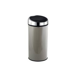 MSV Mülleimer Design Abfalleimer mit Touch-Automatik, bequemes und geräuschloses Öffnen, geruchsdicht, Edelstahl, 30 L, taupe braun