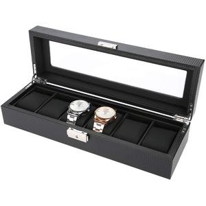 TMISHION Uhrenbeweger Box, Automatischer Uhrenbeweger Aufbewahrungsvitrine, Aufbewahrungskoffer Uhren Ständer Leder Armbanduhr aus Kohlefaser zur Aufbewahrung