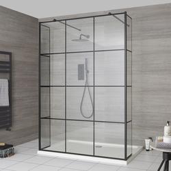 Walk-In Dusche Gittermuster & Seitenpaneel, freistehend - inkl. Duschwanne mit niedrigem Profil - Barq