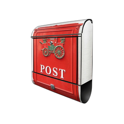 banjado Briefkasten Stahl Postkasten Nostalgie, 39x47x14cm schwarz