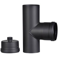FIREFIX Anschlussstück für 100 mm Pelletofenrohr schwarz