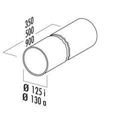Rundrohr 125, Lüftungsrohr, weiß, L 350 mm