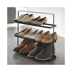 Yamazaki Schuhregal Tower, Schuhablage, für 8 bis 9 Paar Schuhe, freistehend, tragbar schwarz