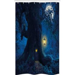 Abakuhaus Duschvorhang Badezimmer Deko Set aus Stoff mit Haken Breite 120 cm, Höhe 180 cm, Blau Nacht Baum Startseite