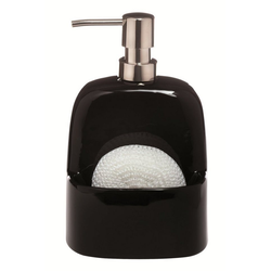 spirella Spülmittelspender BRIDGET, (Komplett-Set, 2-tlg;. Spender inkl. Spülschwamm), Spülmittel / Seifenspender aus exklusivem Material Dolomit, Aufbewahrungsfach für Spülschwämme, inkl. Spülschwamm aus Polypropylen, 380 ml, Behälter schwarz Schwamm weiß schwarz