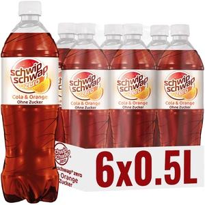 Schwip Schwap ohne Zucker – Koffeinhaltiges Cola-Erfrischungsgetränk mit Orange (6 x 0.5 l)