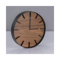Yamazaki Wanduhr Rin (26cm Rahmen, Ziffern und Zeiger aus Metall, Ziffernblatt aus Holz) schwarz