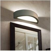 ETC Shop E27 Wandleuchte Loft halbrund Treppenaufgang Lampe, Keramik weiß, 1x E27, LxH 38 x 9 cm
