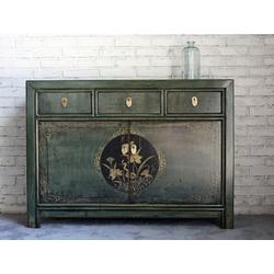 OPIUM OUTLET Konsole Chinesisches Sideboard shabby-chic, Chinesische Kommode, asiatisches Sideboard, orientalische Anrichte, Vintage-Stil, authentische Motive, Shabby-Chic, Breite 117 cm, Höhe 85 cm grün