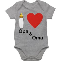 Shirtracer Shirtbody I love Opa und Oma Nuckelflasche - Up to Date Baby - Baby Body Kurzarm 6/12 Monate