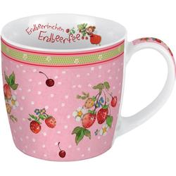 Porzellantasse Erdbeerfee. Motiv Erdbeerbusch