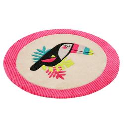 Kinderteppich E-Toucan, Esprit, rund, Höhe 9 mm, besonders weich, Motiv Toucan rosa