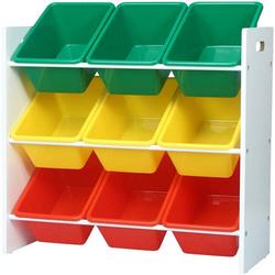 Woltu Standregal, Kinder Aufbewahrungsregal mit 9 Kisten Mehrfarbig