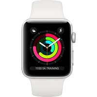 Apple Watch Series 3 (GPS) 38mm Aluminiumgehäuse silber mit Sportarmband weiß