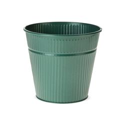 matches21 HOME & HOBBY Blumentopf Zinktopf Übertopf Zink Rillen Struktur dunkelgrün grün 9 cm (1 Stück) 9 cm x 12 cm