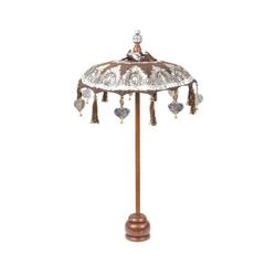 Oriental Galerie Sonnenschirm Kleiner Tischschirm aus Indonesien Braun Silber, Handarbeit