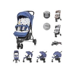 Chipolino Kinder-Buggy Kinderwagen Noby, Rückenlehne Dach Fußstützen verstellbar 5-Punkt Gurt blau
