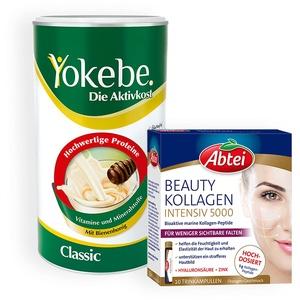 Yokebe Classic - Diätshake zum Abnehmen - Mahlzeitersatz zur Gewichtsabnahme mit hochwertigen Proteinen - 500 g + Abtei Beauty Kollagen Intensiv 5000 - Schönheit zum Trinken, mit 5 g Kollagen-Peptiden